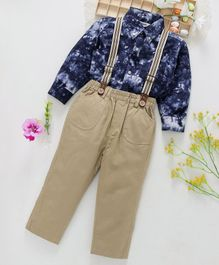ToffyHouse Party Wear Shirt & Trouser With Suspenders - Blue