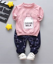 Dells World Milk Bottle Print Full Sleeves Tee & Full Length Bottom Set - Pink