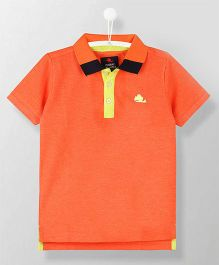 Cherry Crumble California Half Sleeves Polo Neck T-Shirt - Orange