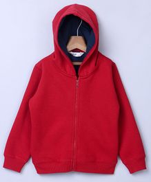Beebay Full Sleeves Hooded Sweat Jacket - Red