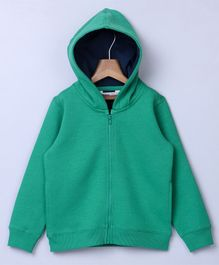 Beebay Full Sleeves Hooded Sweat Jacket - Green