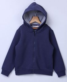 Beebay Full Sleeves Hooded Sweat Jacket - Navy Blue