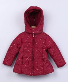 Beebay Full Sleeves Hooded Jacket Star Print - Maroon