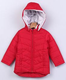 Beebay Full Sleeves Hooded Jacket Dot Print - Red
