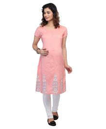 Kriti Half Sleeves Printed Maternity Kurti - Peach