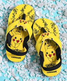 Cute Walk by Babyhug Flip Flops With Back Strap Pikachu Patch - Yellow