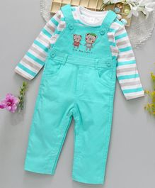 ToffyHouse Corduroy Dungaree Romper With Tee Little Bear Embroidered - Sea Green