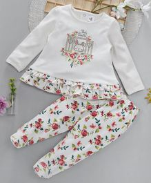 ToffyHouse Full Sleeves Top & Footed Leggings Set Rose Print - Off White