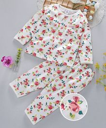 ToffyHouse Full Sleeves Night Suit Rose Print - Off White