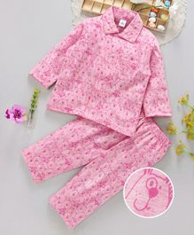 ToffyHouse Collar Neck Night Suit Puppy Print - Pink