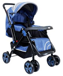 1st Step Baby Pram Cum Stroller With Canopy - Blue Grey