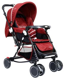 1st Step Stroller Cum Pram With Reversible Handle - Maroon
