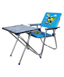 Abhiyantt Foldable Table & Chair Set - Blue(Design May Vary)