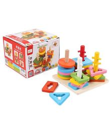 Emob Wooden Blocks Geometric Shape Matching Four Sets of Column Learning Education Puzzle