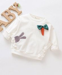 Pre Order - Awabox Long Sleeves Carrot Applique Tee - White
