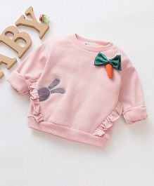 Pre Order - Awabox Long Sleeves Carrot Applique Tee - Pink