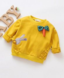 Pre Order - Awabox Long Sleeves Carrot Applique Tee - Yellow