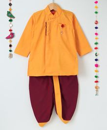 Ethnik's Neu Ron Full Sleeves Kurta & Dhoti Set - Orange Maroon