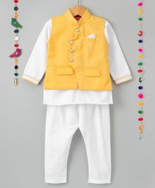 Ethnik's Neu Ron Full Sleeves Kurta And Pajama With Jacket - Yellow White