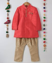 Ethnik's Neu-Ron Full Sleeves Kurta Pyjama Set - Red Golden