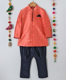 Ethnik's Neu-Ron Full Sleeves Kurta Pyjama Set - Peach Navy