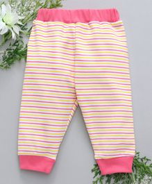 Babyhug Full Length Cotton Lounge Pant Striped - Pink Yellow
