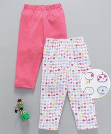 Babyhug Full Length Cotton Leggings Apple Print Pack of 2 - Pink White