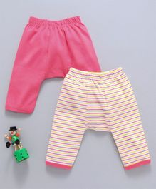 Babyhug Cotton Diaper Leggings Pack of 2 - Pink Yellow