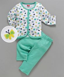 Babyhug Full Sleeves Cotton Night Suit Butterfly Print - Sea Green