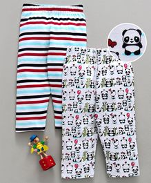 Babyhug Full Length Cotton Lounge Pant Striped & Panda Print Pack of 2 - White & Blue