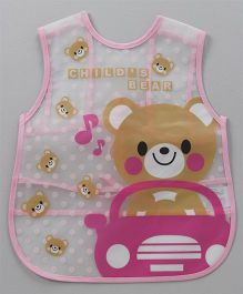 Alpaks Apron With Pocket Bear Print - Pink