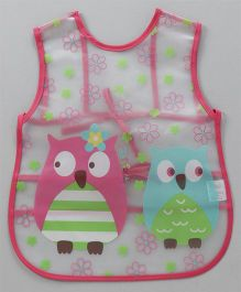 Alpaks Apron With Pocket Owl Print - Dark Pink