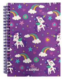 Smilykiddos Fantasy A5 Lined Spiral Notebook Purple - 80 Pages