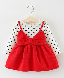 Dells World Bow Attached Polka Print Dress - Red & White