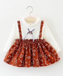 Dells World Floral Print Dress With A Attached Bow - Brown & White