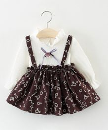 Dells World Floral Print Dress With A Attached Bow - Dark Brown & White