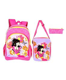 Avon Bags School Backpack Combo Set of 3 Pink - Bag Height 16 Inches
