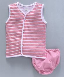 Ohms Sleeveless Stripe Vest And Briefs - Pink