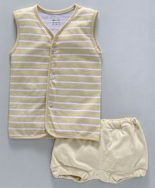 Ohms Sleeveless Stripe Vest And Briefs - Beige