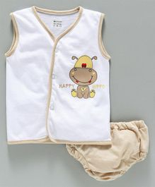 Ohms Sleeveless Vest & Briefs - Beige & White
