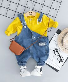 Pre Order - Awabox Long Sleeves Tee With Dungaree Set - Yellow