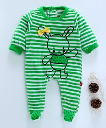 Wow Girl Full Sleeves Bunny Print Striped Footed Romper - Green