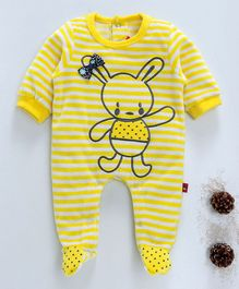 Wow Girl Full Sleeves Bunny Print Striped Footed Romper - Yellow