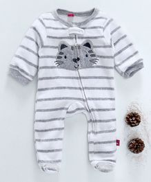 Wow Girl Full Sleeves Kitty Print Striped Footed Romper - Grey