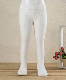 Mustang Footed Solid Colour Tights Stockings - Off White