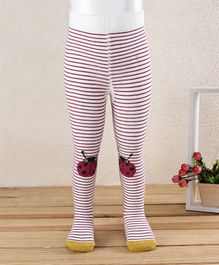Mustang Footed Tights Stockings Lady Bug & Striped Design - White & Red