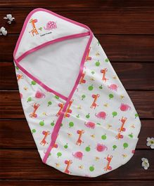 Pink Rabbit Hooded Wrapper Giraffe Print - Off White Pink