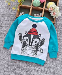 Babyhug Raglan Sleeves Sweatshirt Raccoon Print - Sky Blue White