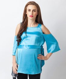 Blush 9 Solid Cold Shoulder Maternity Top - Sky Blue