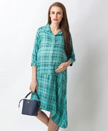 Blush 9 Checkered Maternity And Nursing Shirt Dress - Blue
